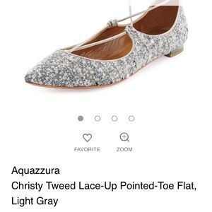 Aquazzura tweed christy lace up flats